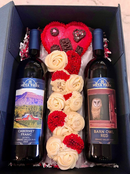Valentine's Day Wine and Cookies Gift Box