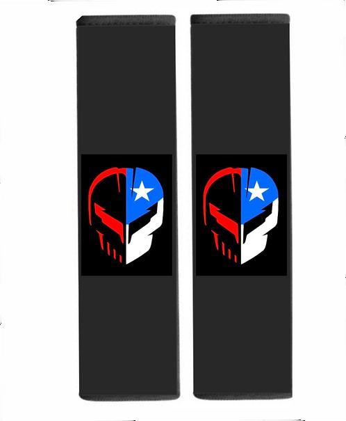 Seatbelt Cover - RedWhiteBlue Skull