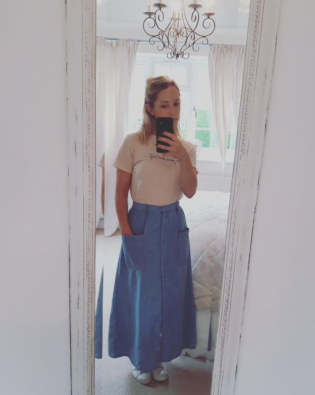 New Look sale. Blue Midi Skirt. £12.