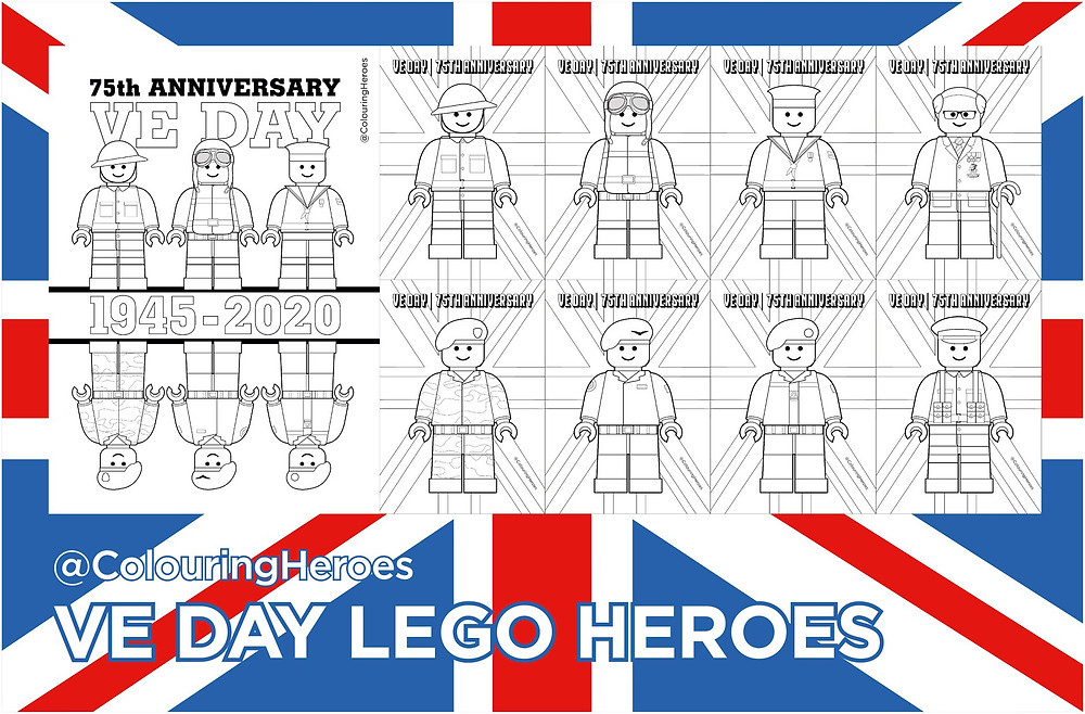 VE Day Lego Heroes colouring