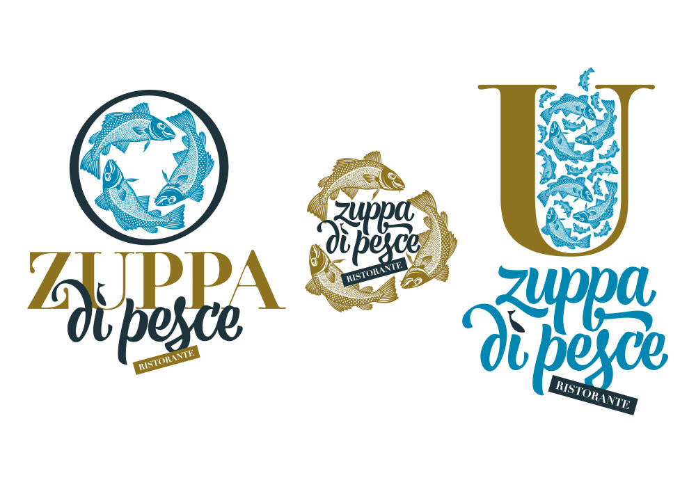 Logo and brand for a fish restaurant in Genoa