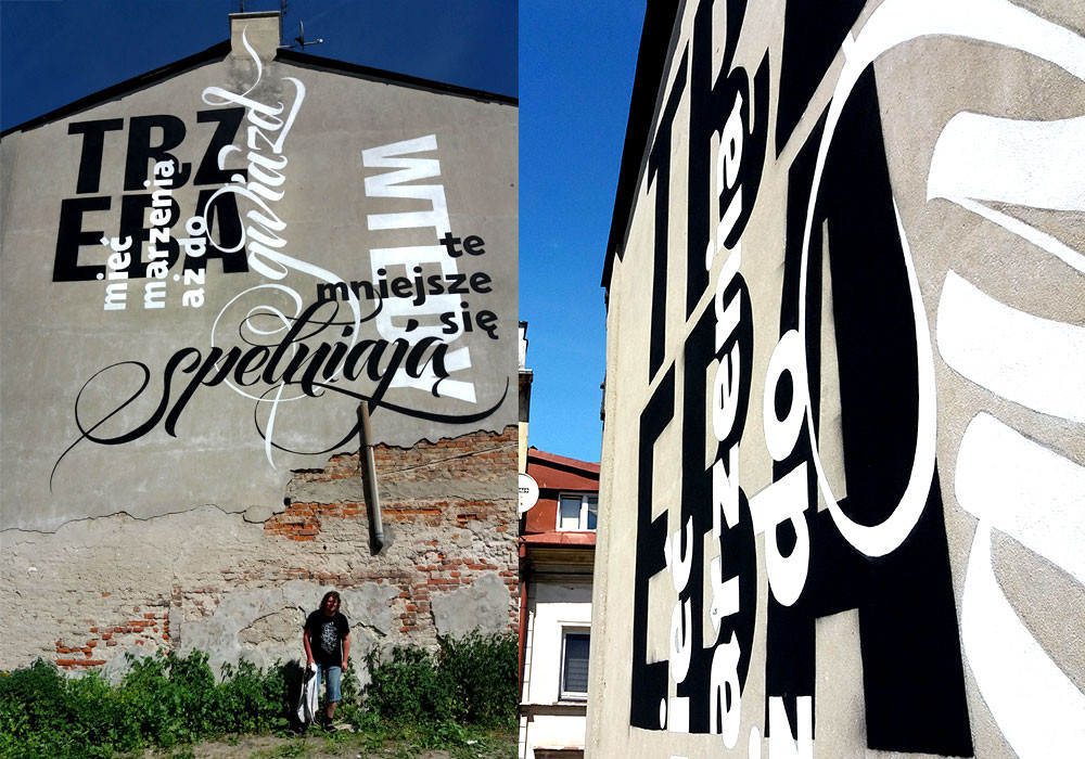 Сalligraffiti on the wall and calligraphic performance in Lublin (Poland)