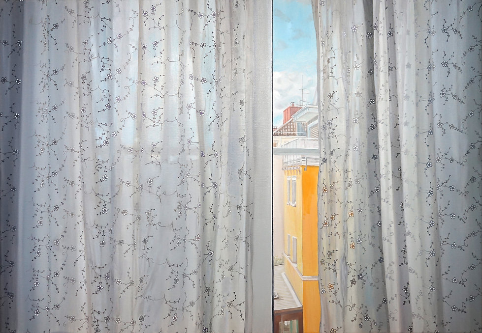 Fensterbiild mit schwebenden Blümchen.J