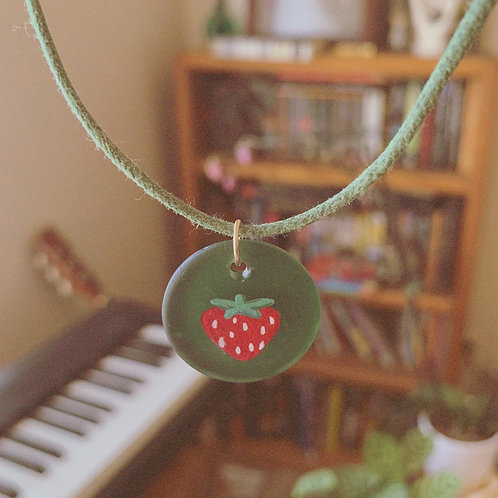 Strawberry Forests - Handpainted Glass - Cotton Choker