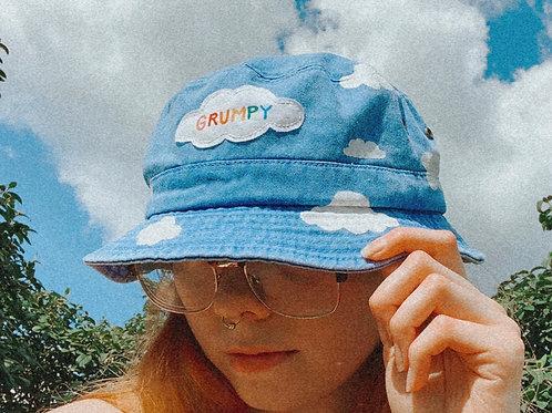 Grumpy - Handpainted Cloud Bucket Hat