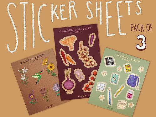 Sticker Sheet 3 Pack - Flower Field, Garden Harvest, School Daze