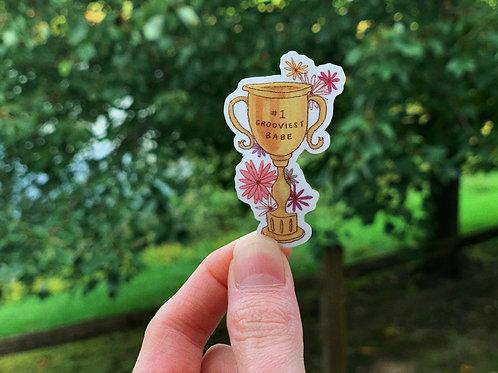 Grooviest Babe Trophy - Sticker - Transparent