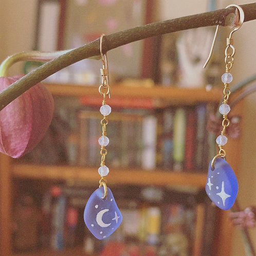 Night Skies - Handpainted Glass Earrings