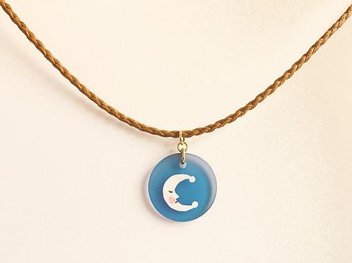 Sleeping Moon - Handpainted Glass - Cotton Choker