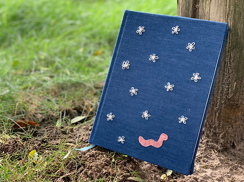 Hand-Embroidered Lined Diary Journal - Wormy Jr.