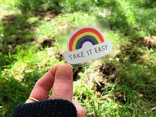 Take It Easy Rainbow - Sticker - Transparent