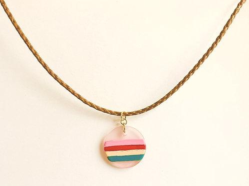 Strange Rainbow - Handpainted Glass - Cotton Choker