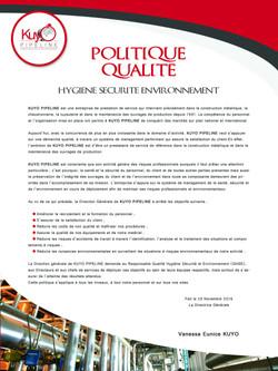 Politique Qualité Kuyo pipeline