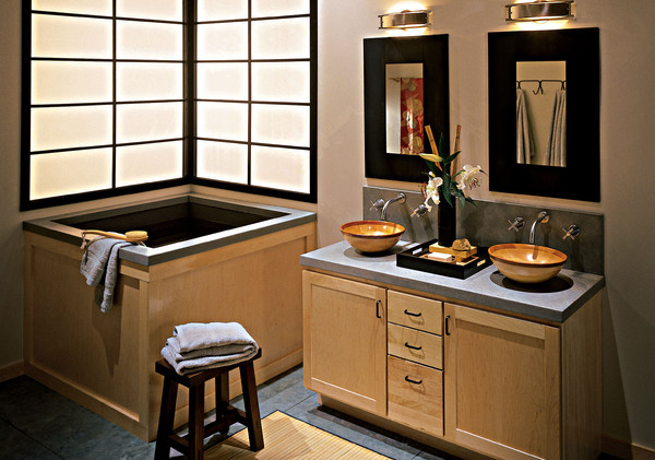 Custom vanity with natural elements and tasteful accessories for a zen feel.