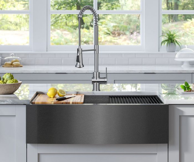 The PVD Gunmetal finish has a modern yet timeless appearance that blends well with today's popular black stainless steel appliances and makes this sink a showpiece in any kitchen.