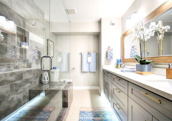 A spacious Jack and Jill custom vanity with ample counter space.