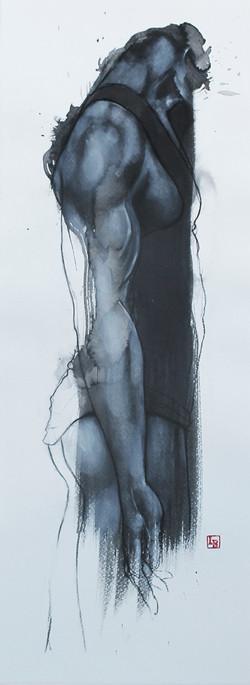 Sculpture sur tache homme profil