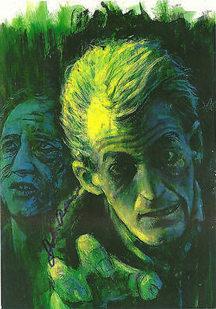 """NIGHT OF THE LIVING DEAD"" ZOMBIE POSTER -- 11X17 -- PRINT OF ORIGINAL PAINTING BY JOHN GRAZIANO OF RUSSO AND HINZMAN AS ZOMBIES -- AUTOGRAPHED BY JOHN RUSSO."