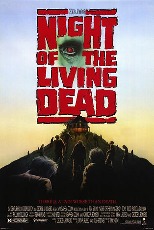 ORIGINAL ARTWORK FOR NIGHT OF THE LIVING DEAD REMAKE 1990-- 11X17 -- AUTOGRAPHED BY JOHN RUSSO