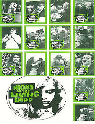 """NIGHT OF THE LIVING DEAD"" TRADING CARD POSTER -- 11X17 -- AUTOGRAPHED BY JOHN RUSSO."