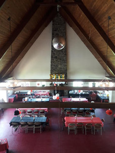 """Inside the Lodge with """"A"""" frame ceiling"""