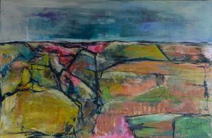 Gedachtenlandschap | schilderij in acrylverf | 75 x 115 cm