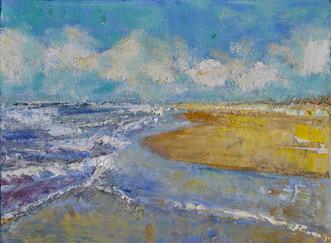 Zee en strand | schilderij in olieverf | 18 x 24 cm