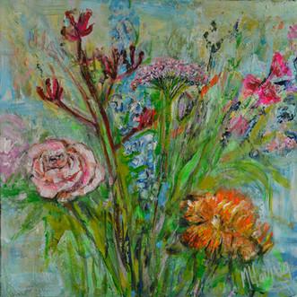 Bloemenzee | schilderij in acrylverf | 50 x 50 cm