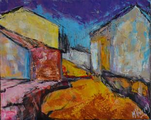 Frans straatje | schilderij in acrylverf | 40 x 50 cm