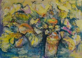 Gedachtenlandschap schilderij in acrylverf | 75 x 115 cm Avondlelies schilderij in acrylverf | 70 x 100 cm