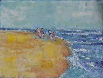 Strandwandeling | schilderij in olievef | 18 x 24 cm