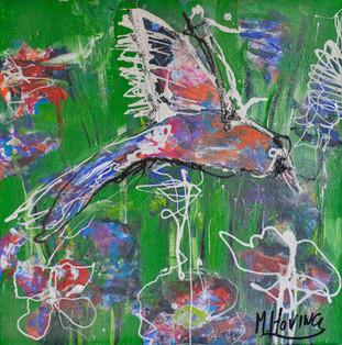 Zangvogel schilderij in acrylverf | 40 x 40 cm