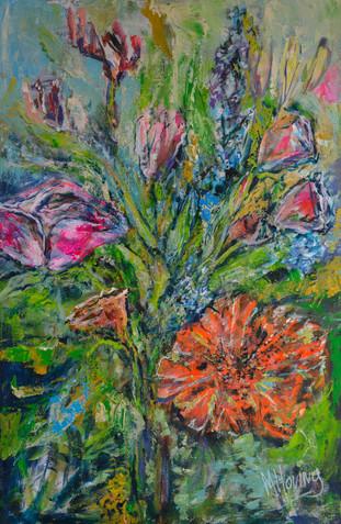 Flowerpower | schilderij in acrylverf | 75 x 115 cm