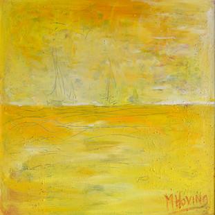 Zomerzee | schilderij van een landschap in acrylverf | 70 x 70 cm