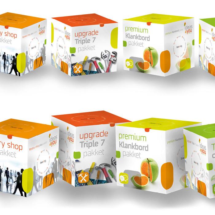 Voor Ideas4You hebben we een aantal graphics gemaakt van boxen. Elke box staat voor een inspiratie pakket die de cliënt kan afnemen. Zoals het Mystery shop pakket of Trendtour op maat pakket. De graphics zien er heel echt uit, maar ze bestaan alleen digitaal. | graphic & ontwerp | digitaal