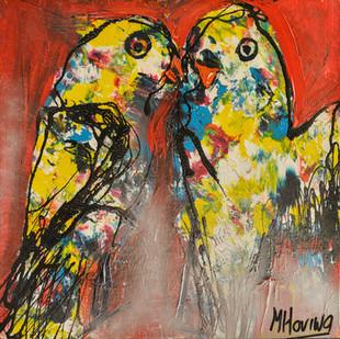 Lovebirds | schilderij in acrylverf | 40 x 40 cm