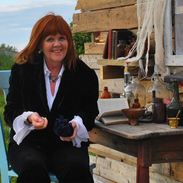 Mary Barry on set in Pouch Cove, NL