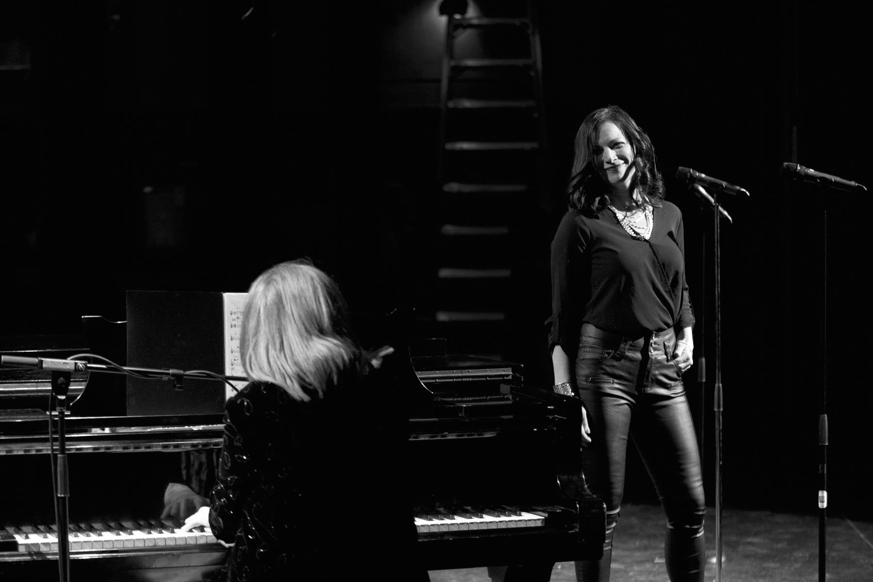 Mary Barry with Michelle Doyle on stage at Holy Heart Theatre