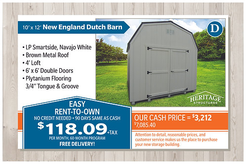 D-10' x 12' New England Dutch Barn
