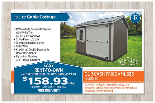 F-10' X 12' Gable Cottage