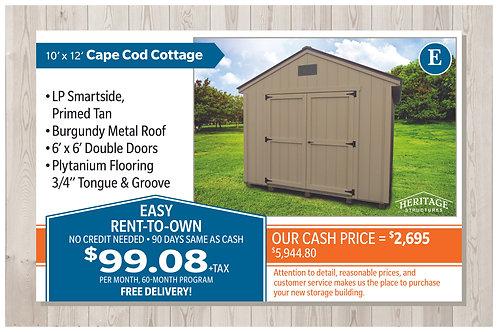 E-10' x 12' Cape Cod Cottage