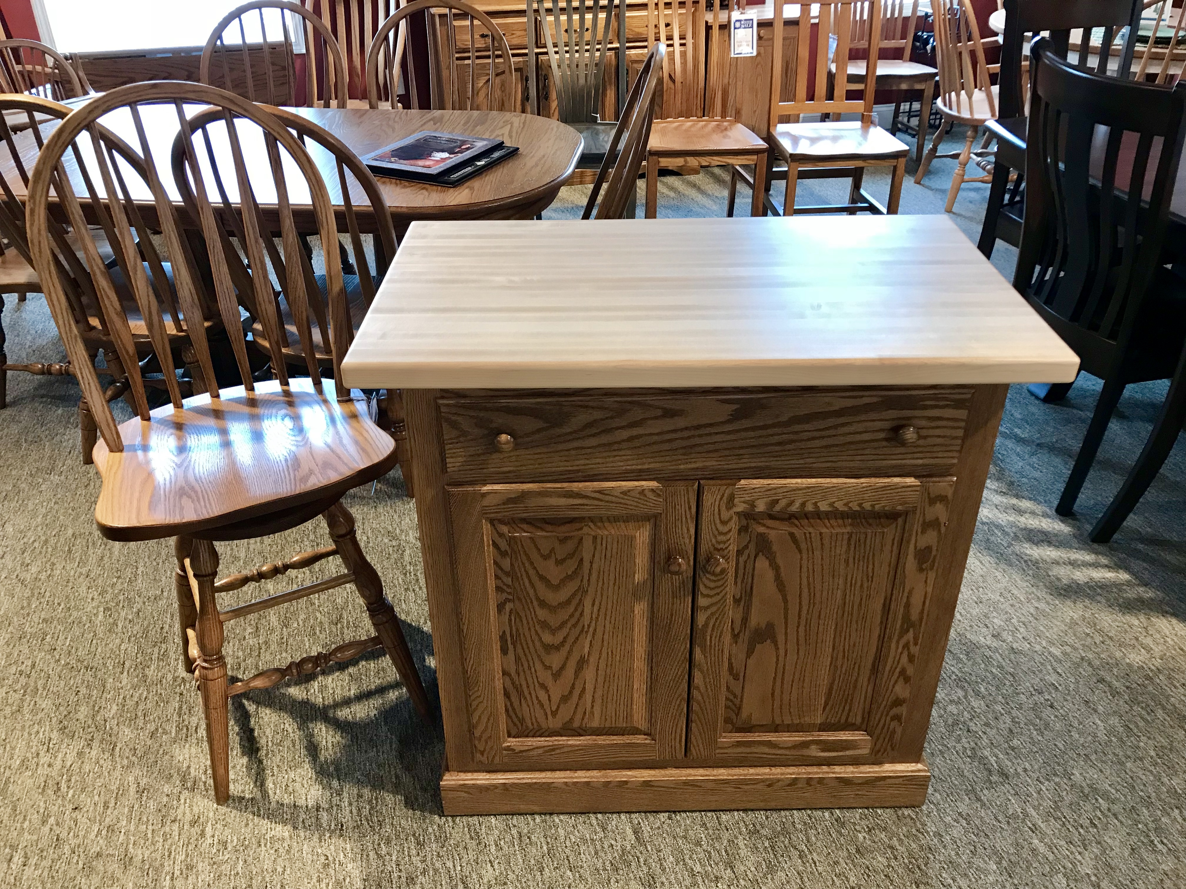 Traditional Island with Butcher Block Top