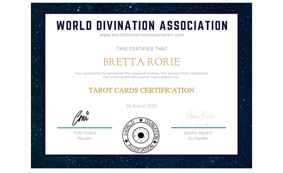 Certificate of Completion for Tarot Card