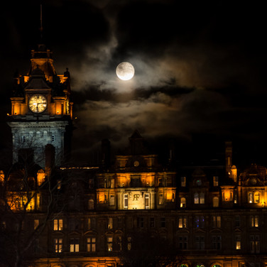 The Balmoral Hotel and the full moon