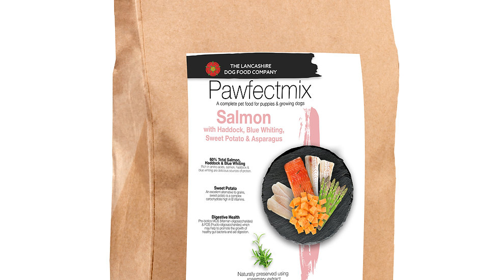 Salmon with Haddock, Blue Whiting, Sweet Potato & Asparagus - Puppy 15kg