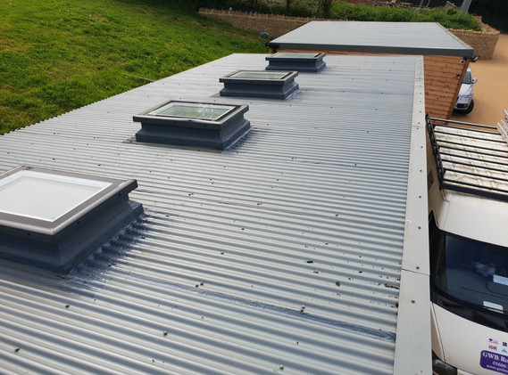 Polyester coated corrugated metal roof,