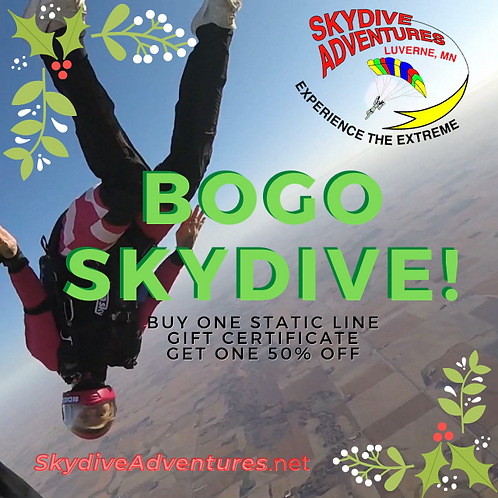 TWO (2) Static Line, First Jump Course Gift Certificate