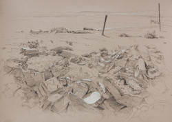 Bombay Beach Ruin Drawing