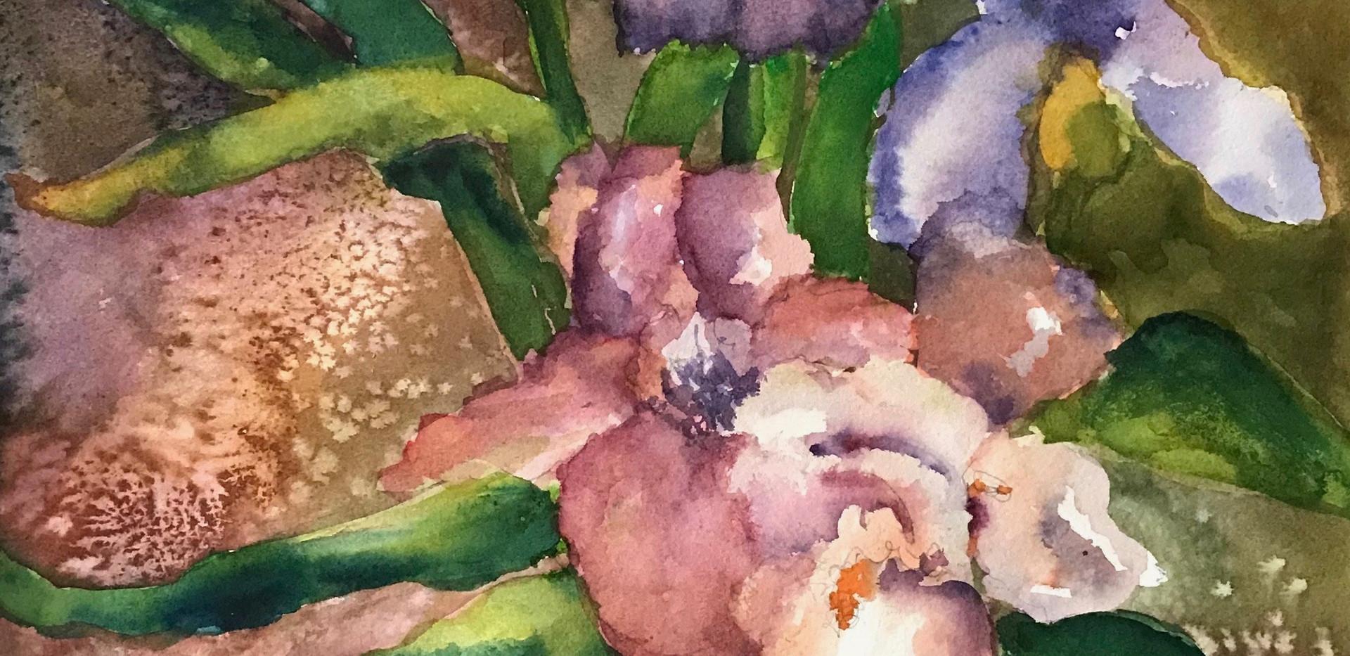 Irises in a Blue Vase