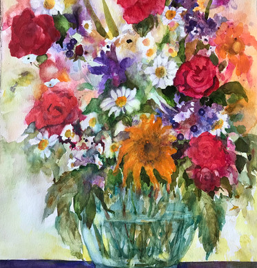 Floral Bouquet in a Glass Vase